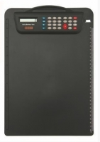 Psací deska s klipem a kalkulačkou A4 - plastová, černá