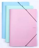 Spisové desky s gumou Pastelini A4 - 3 klopy, plastové, růžové
