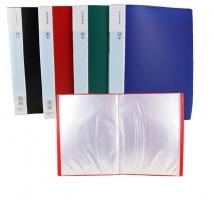 Katalogová kniha Deli E38144 - A4, plastová, 10 kapes, hřbet 8 mm, červená
