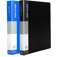 Katalogová kniha Deli E38147- A4, plastová, 40 kapes, hřbet 24 mm, modrá