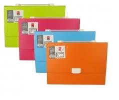 Aktovka na dokumenty Deli Rio E38126 - plastová, 13 kapes, oranžová