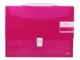 Aktovka na dokumenty Deli Aurora EB50442  - A4, plastová, 1 kapsa, růžová