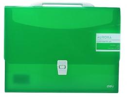 Aktovka na dokumenty Deli Aurora EB50452  - A4, plastová, 1 kapsa, zelená - DOPRODEJ