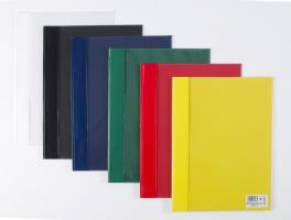 Plastový rychlovazač A4 - s kapsou, tvrdé zadní desky, kapacita 100 listů, žlutý