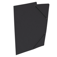 Spisové desky s gumou - bez klop, prešpán, černé