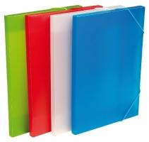 Box na spisy A4 - s gumou, plastový, červený