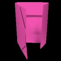 Spisové desky s gumou - 3 klopy, prešpán, růžové