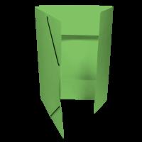 Spisové desky s gumou - 3 klopy, prešpán, světle zelené
