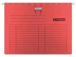 Závěsná papírová deska s rychlovazačem Donau - A4, 230 g, červená