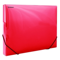 Box na spisy A4 Donau - s gumou, plastový, transparentní červený