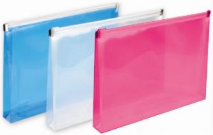Obálka s plastovým zipem A4 - plastová, transparentní růžová