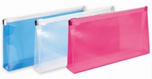 Obálka s plastovým zipem DL - plastová, transparentní modrá