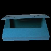 Box na spisy A4 - s gumou, prešpán, modrý