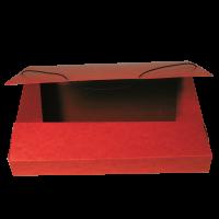 Box na spisy A4 - s gumou, prešpán, červený