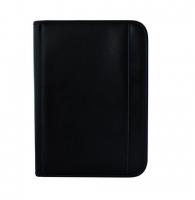 Diplomatka na zip - A4, kalkulačka, blok 50 listů, černá, modré prošívání