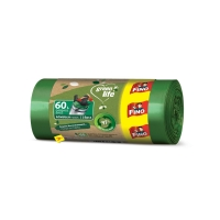 Recyklovaný sáček do koše 60 l Fino LD Green Life - 60x66+13 cm, 27 my, zelený, 18 ks