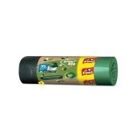 Recyklovaný zatahovací sáček do koše 35 l Fino LD Green Life - 53x60 cm, 25 my, zelený, 15 ks