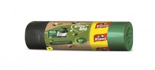 Recyklovaný zatahovací sáček do koše 60 l Fino LD Green Life - 63x72 cm, 27 my, zelený, 10 ks