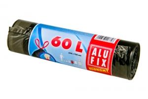 Zatahovací sáček do koše 60 l Alufix Economy - 15 my, černý, 10 ks