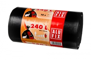 Pytel na odpad 240 l Alufix Premium - 35 my, černý, 10 ks