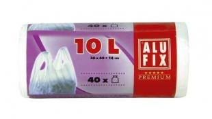 Zavazovací sáček do koše na odpadky 10 l Alufix - s uchy, 10 my, bílý, 40 ks