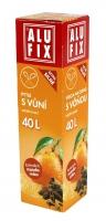 Zatahovací sáček do koše s vůní 40 l Alufix - mandarinka, 18 my, oranžový, 12 ks