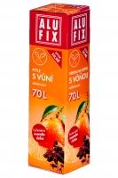Zatahovací sáček do koše s vůní 70 l Alufix - mandarinka, 20 my, oranžový, 8 ks