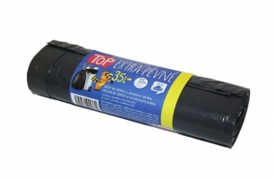 Zatahovací sáček do koše 35 l Top - extra pevný, 50x60 cm, 30 my, černý, 15 ks