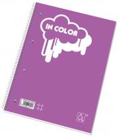 Kroužkový college blok A4 In Color - čtverečkovaný, boční spirála, s děrováním, 50 listů, mix barev