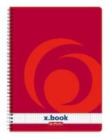 Kroužkový college blok A4 Herlitz x-book - čtverečkovaný, boční spirála, s děrováním, 80 listů
