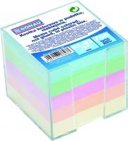 Poznámkový bloček kostka v plastovém zásobníku - nelepený, 8,3x8,3x7,5 cm, barevný