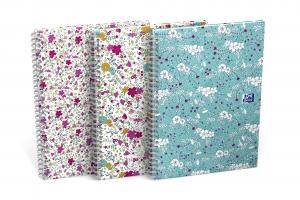 Kroužkový college blok B5 Oxford Floral - linkovaný, mix motivů, 60 listů