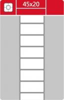 Termotransferové etikety TTR na kotouči - 45x20 mm, dutinka 40 mm, bílé, 3000 ks