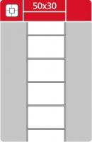 Termotransferové etikety TTR na kotouči - 50x30 mm, dutinka 40 mm, bílé, 3000 ks