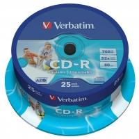 CD-R Verbatim AZO 700 MB Printable - 52x, potiskutelné, cake box, 25-pack