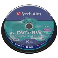 DVD-RW Verbatim SERL 4,7 GB - 4x, bez možnosti potisku, cake box, 10-pack