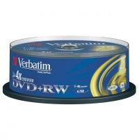 DVD+RW Verbatim SERL 4,7 GB - 4x, bez možnosti potisku, cake box, 25-pack