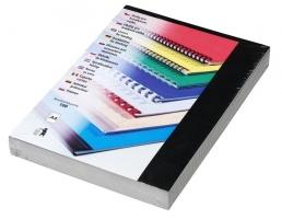 Kartonové desky pro zadní stranu kroužkové vazby Chromo - A4, leštěný povrch, černé, 100 ks