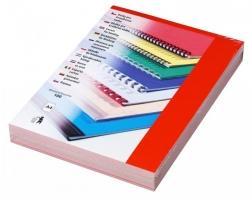Kartonové desky pro zadní stranu kroužkové vazby Chromo - A4, leštěný povrch, červené, 100 ks