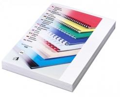 Kartonové desky pro zadní stranu kroužkové vazby Delta - A4, imitace kůže, bílé, 100 ks