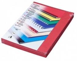 Kartonové desky pro zadní stranu kroužkové vazby Delta - A4, imitace kůže, červené, 100 ks