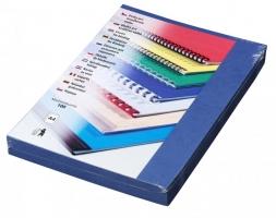 Kartonové desky pro zadní stranu kroužkové vazby Delta - A4, imitace kůže, modré, 100 ks