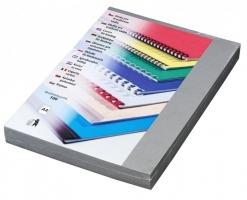 Kartonové desky pro zadní stranu kroužkové vazby Delta - A4, imitace kůže, šedé, 100 ks