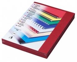 Kartonové desky pro zadní stranu kroužkové vazby Delta - A4, imitace kůže, tmavě červené, 100 ks