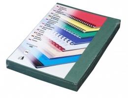 Kartonové desky pro zadní stranu kroužkové vazby Delta - A4, imitace kůže, zelené, 100 ks