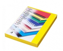 Kartonové desky pro zadní stranu kroužkové vazby Delta - A4, imitace kůže, žluté, 100 ks