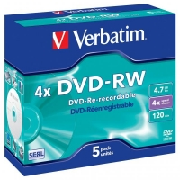 DVD-RW Verbatim SERL 4,7 GB - 4x, bez možnosti potisku, jewel box, 5-pack