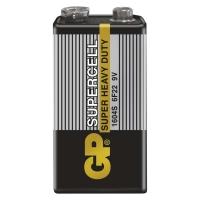 Zinkouhlíkové baterie GP Supercell 9 V - typ 6F22, 1 ks