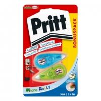 Korekční strojek Pritt Micro Rolly - 5 mm x 6 m, mix barev, 2 ks