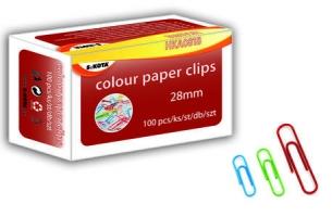 Barevné kancelářské sponky Sakota - 28 mm, mix barev, 100 ks